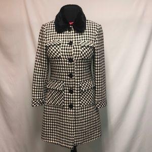 Trina Turk  Houndstooth pea coat size 12